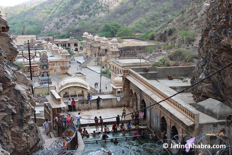 Complete view of Galta ji temple Jaipur from top of the mountain