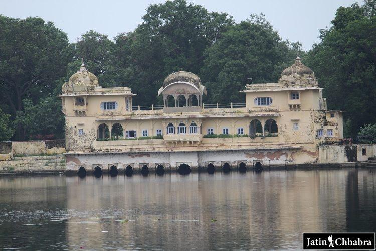 View of bundi palace from jait sagar in monsoon