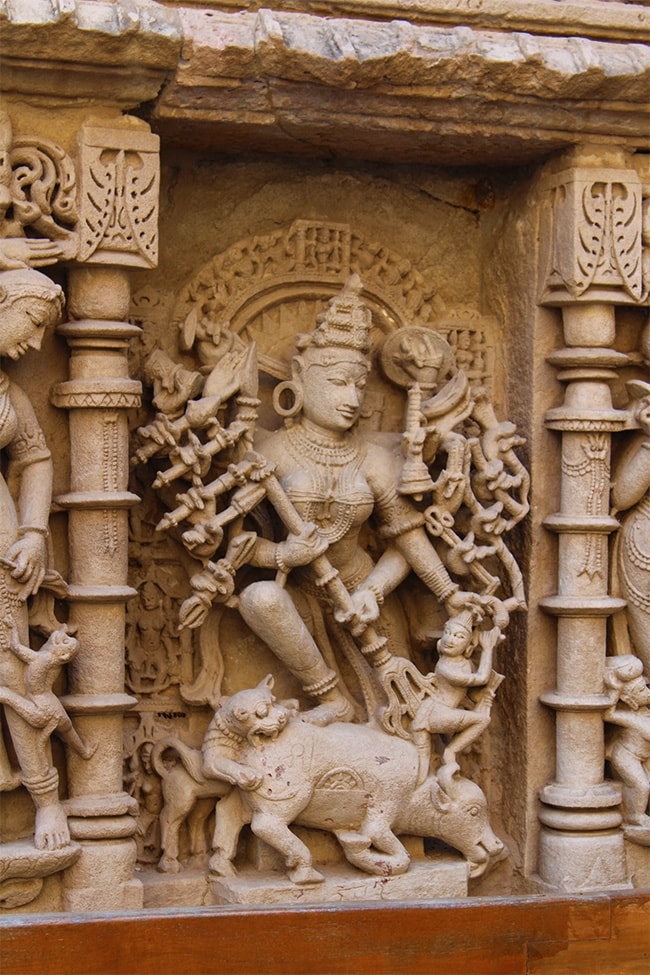 Sculpture of Mother Durga killing Mahisasur