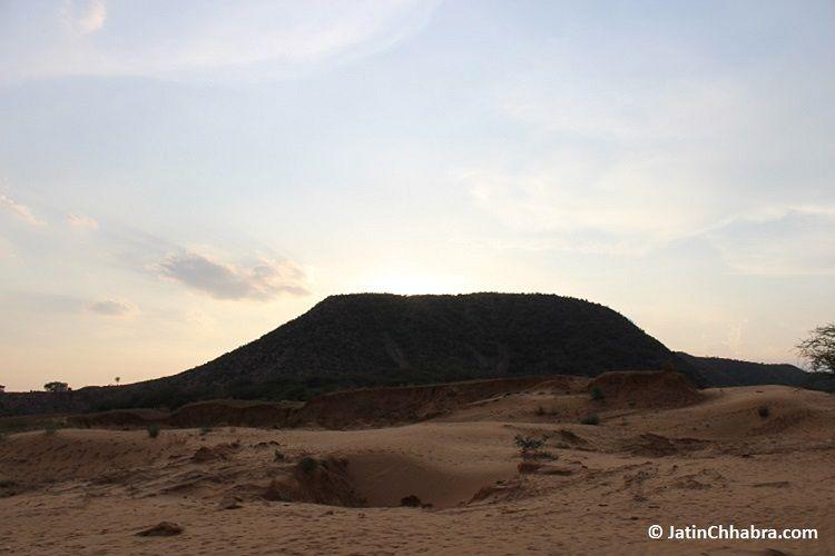Desert sand aside road