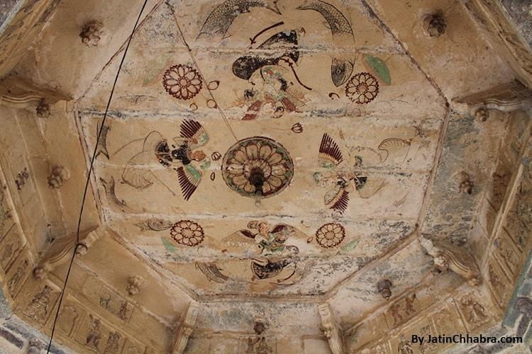 Ceiling Painting above white marble Shiva Lingam of Chaurasi Khambon ki Chhatri, Bundi