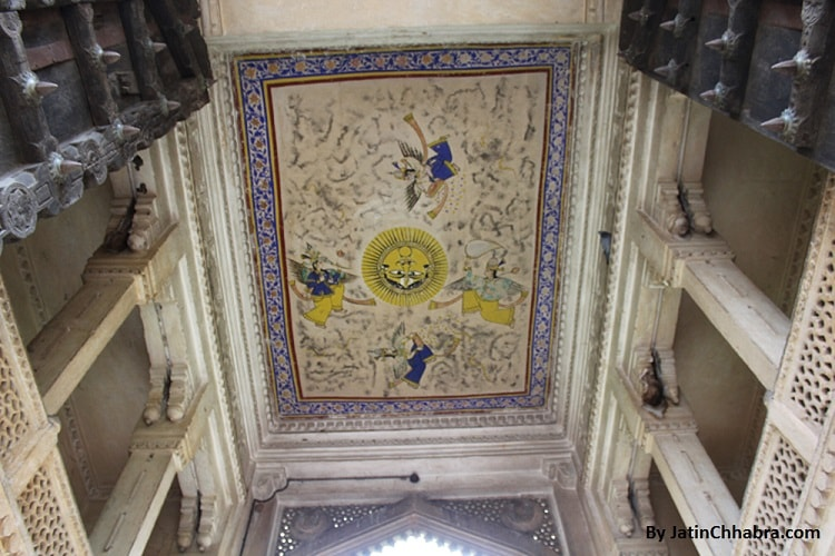 Hathiapol Gate Ceiling Painting of Hindu God Bhaskar