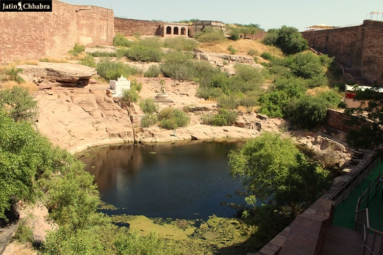Pond and Shiv statue at Mehrangarh Fort Jodhpur