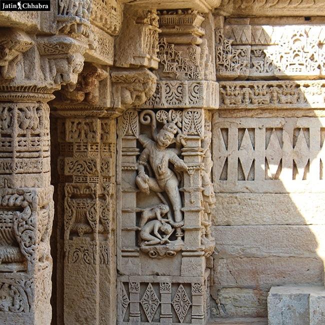 A decorated Pillar of Rani Ki Vav