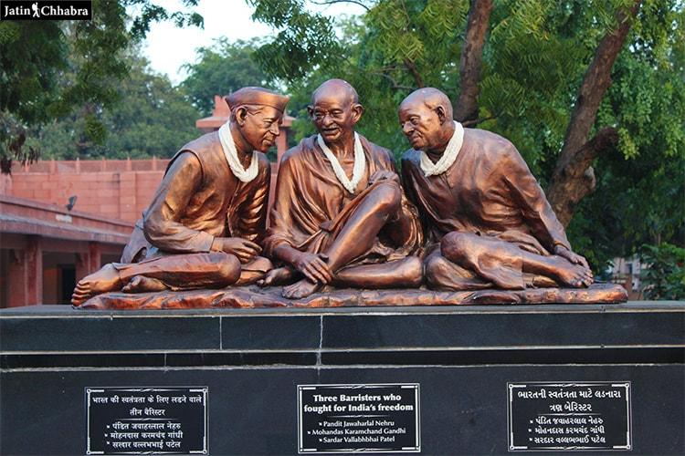 Statue of Nehru Gandhi and Patel at Sardar Vallabhbhai Patel National Memorial