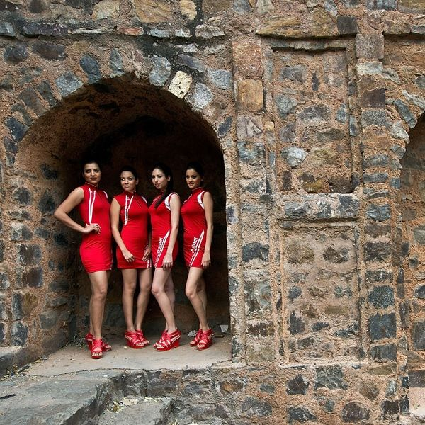 Formula One models at Agrasen Ki Baoli